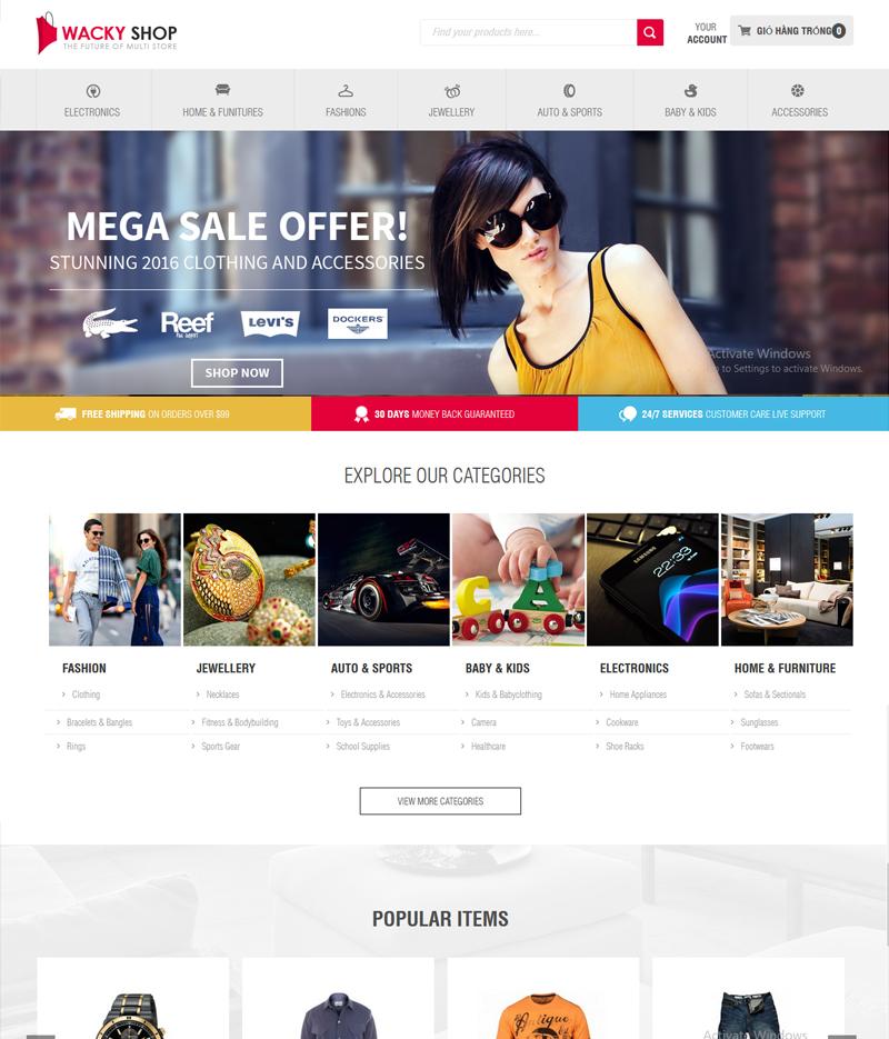 Mẫu web bán hàng thời trang TR04