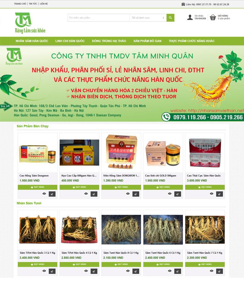 thiết kế website Nhân Sâm Việt Hàn